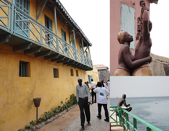 Photo mosaic of Senegalese street, coastline, and slave statue.