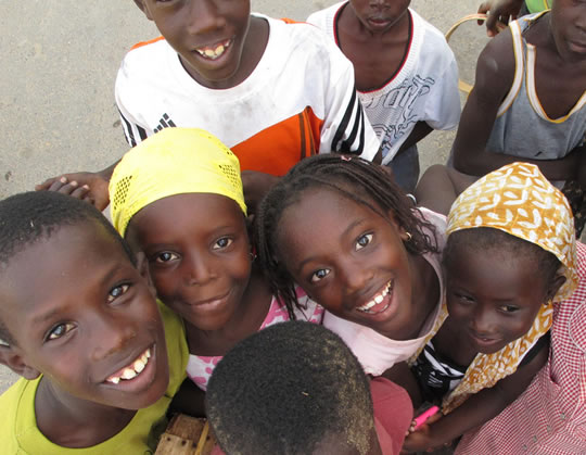 Senegalese children smiling..